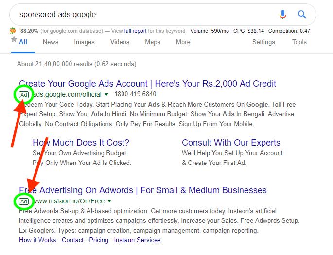 sponsored ads on google