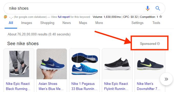 sponosored ads on google search