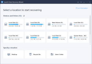 EaseUS Data Recovery Free Screenshot for select a location